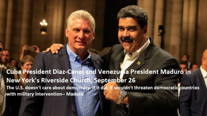 Diaz Canel and Maduro in Riverside Church words